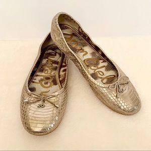 Sam Edelman Felicia Snakeskin Leather Flats Sz 8